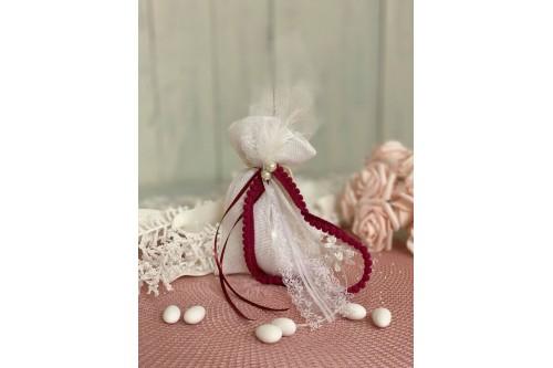 Πουγκί λευκό με πέρλες