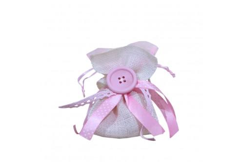Λινάτσα και κουμπί ροζ
