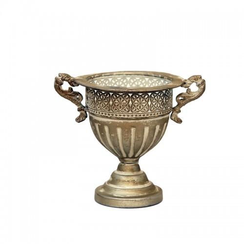 Μεταλλικός αμφορέας μίνι μπεζ χρυσό 23χ18χ20,5εκ